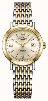 Rotary Damski zegarek z dwukolorową bransoletą w kolorze złota i srebra LB05301/09