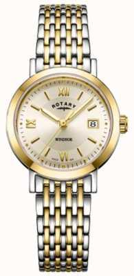 Rotary Zegarek damski z dwukolorowym złotym i srebrnym bransoletką LB05301/09