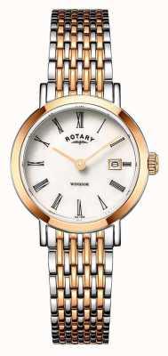 Rotary Damski zegarek windsor z dwoma odcieniami różowego złota i srebrnej bransoletki LB05302/01