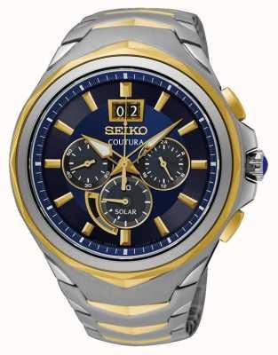 Seiko Dwukolorowy zegarek Coutura ze stali nierdzewnej, niebieska tarcza SSC642P1