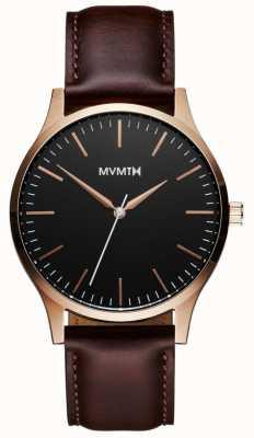 MVMT 40 serii różowe złoto-brązowy | brązowy pasek | czarna tarcza D-MT01-BLBR