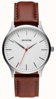 MVMT 40 serii srebrny naturalny tan | brązowy pasek | srebrna tarcza D-MT01-SNA
