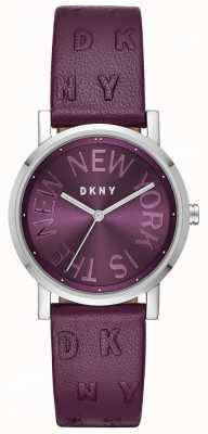 DKNY Damska fioletowa fioletowa skórzana tarcza zegarka NY2762