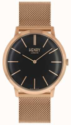 Henry London Kultowa bransoletka z czarnej tarczy z różowego złota HL40-M-0254