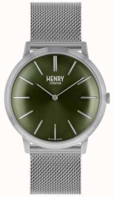 Henry London Iconic srebrny pasek z zieloną tarczą HL40-M-0253
