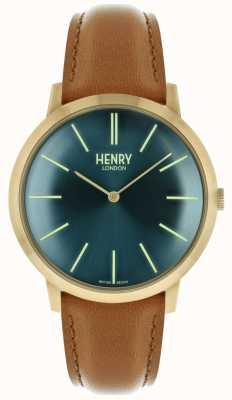 Henry London Charakterystyczny granatowy skórzany pasek ze złotym tasiemkiem HL40-S-0274
