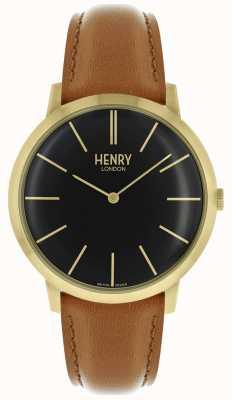 Henry London Charakterystyczny czarny skórzany pasek z tarczą w kolorze złotym HL40-S-0242