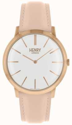 Henry London Kultowy biały różowy skórzany pasek na różowym tle HL40-S-0288