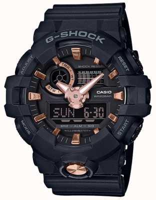 Casio G-shock analogowy cyfrowy granatowy zegarek z różowego złota GA-710B-1A4ER