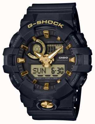 Casio Cyfrowy, złoty zegarek analogowy G-Shock GA-710B-1A9ER