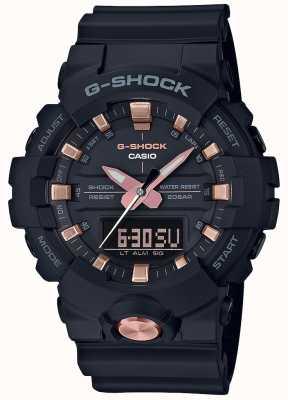 Casio Analogowy cyfrowy G-shock wielofunkcyjny matowy czarny różany złoty GA-810B-1A4ER