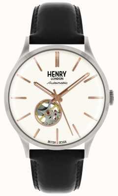 Henry London Dziedzictwo męskie automatyczne czarny skórzany pasek biały zegarek wybierania HL42-AS-0279