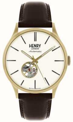 Henry London Dziedzictwo męskie automatyczne czarny skórzany pasek biały zegarek wybierania HL42-AS-0280