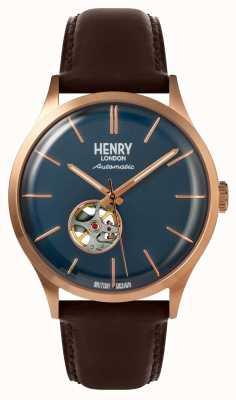 Henry London Heritage męski automatyczny brązowy skórzany pasek granatowy zegarek HL42-AS-0278