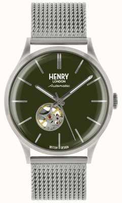 Henry London Dziedzictwo mężczyzna automatyczny srebrny stalowy zielony zegarek wybierania HL42-AM-0283