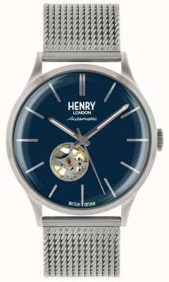 Henry London Dziedzictwo mężczyzna automatyczny srebrny stalowy zegarek z niebieską tarczą HL42-AM-0285