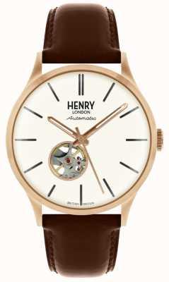 Henry London Heritage Mens automatyczny brązowy skórzany pasek z białą tarczą HL42-AS-0276
