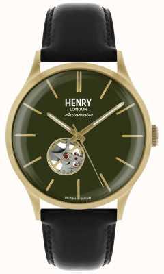 Henry London Heritage męski automatyczny czarny skórzany pasek z zielonym zegarem HL42-AS-0282
