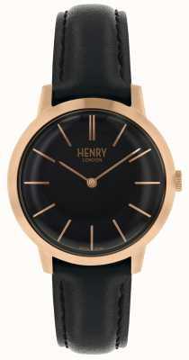 Henry London Kultowy czarny skórzany pasek z czarną tarczą HL34-S-0218