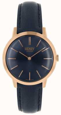 Henry London Iconic kobiet zegarek granatowy dial navy skórzany pasek HL34-S-0216