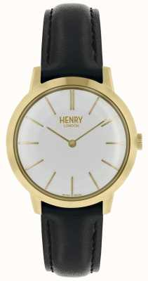 Henry London Kultowy kobiet zegarek biały wybierania czarny skórzany pasek HL34-S-0214