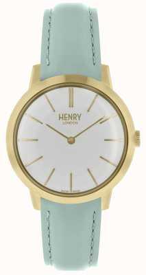 Henry London Iconic kobiet zegarek biały wybierania niebieski skórzany pasek HL34-S-0224