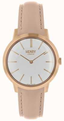 Henry London Kultowy kobiet zegarek biały wybierania skórzanego paska nago HL34-S-0222