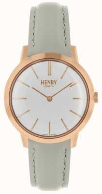 Henry London Iconic kobiet zegarek biały wybierania szary skórzany pasek HL34-S-0220