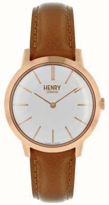 Henry London Kultowy damski zegarek biały skórzany pasek wybierania HL34-S-0212