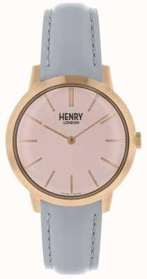 Henry London Iconic kobiet zegarek różowy wybierania szary skórzany pasek HL34-S-0228