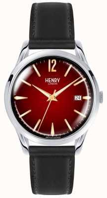 Henry London Chancery unisex czarny skórzany pasek z czerwonym zegarkiem HL39-S-0095