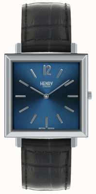 Henry London Dziedzictwo męskie kwadratowy zegarek niebieski czarny skórzany pasek wybierania HL34-QS-0267
