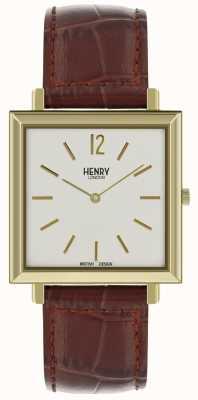 Henry London Dziedzictwo mężczyzna kwadratowy zegarek biała tarcza brown rzemienny pasek HL34-QS-0268
