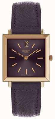Henry London Dziedzictwo kobiet petite kwadratowy fioletowy zegarek HL26-QS-0260