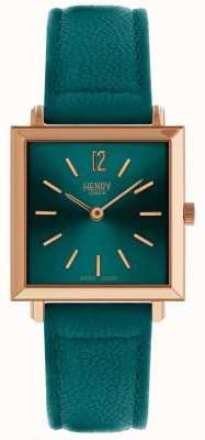 Henry London Dziedzictwo kobiet petite kwadratowy zegarek zielony HL26-QS-0258