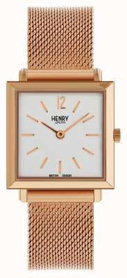 Henry London Dziedzictwo kobiet drobny kwadratowy zegarek różowego złota siatka HL26-QM-0264