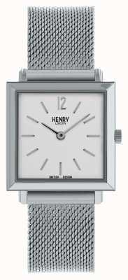 Henry London Zegarek damski Heritage z drobnym kwadratowym wzorem srebrny pasek z siatki | HL26-QM-0265