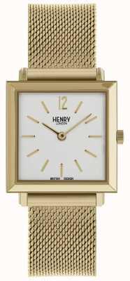 Henry London Dziedzictwo damskie drobny kwadratowy zegarek ze złotej siatki HL26-QM-0266