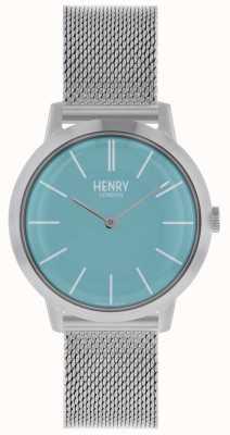 Henry London Iconic kobiet zegarek srebrna bransoletka z siatki niebieska tarcza HL34-M-0273