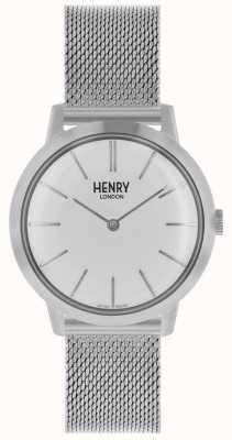 Henry London Kultowy zegarek damski srebrna bransoletka z siatki białej tarczy HL34-M-0231