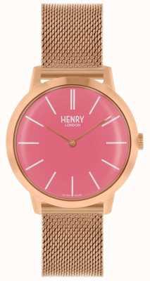 Henry London Kultowy zegarek damski bransoletka z różowego złota z różową tarczą HL34-M-0272