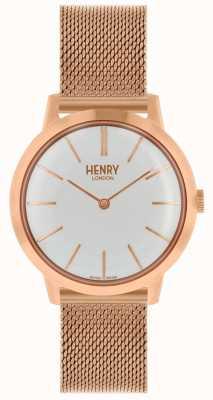 Henry London Kultowy kobiet zegarek bransoleta z różowego złota bransoleta biała tarcza HL34-M-0230