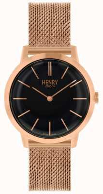 Henry London Kultowy kobiet zegarek bransoletka z różowego złota bransoletka czarna tarcza HL34-M-0234