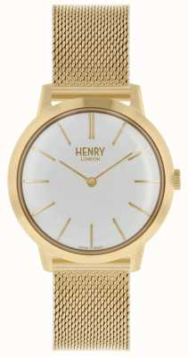 Henry London Iconic kobiet zegarek bransoletka z siatki złota biała tarcza HL34-M-0232