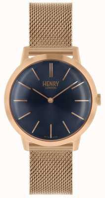 Henry London Iconic kobiet zegarek bransoletka z różowego złota z siatki niebieska tarcza HL34-M-0292