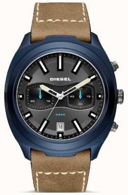 Diesel Mens tumbler niebieski skórzany pasek brązowy zegarek DZ4490