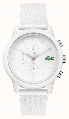 Lacoste 12.12 biały silikonowy pasek chronografu 2010974