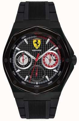Scuderia Ferrari Męski, czarny pasek z czarnej gumy, czarny datownik 0830538