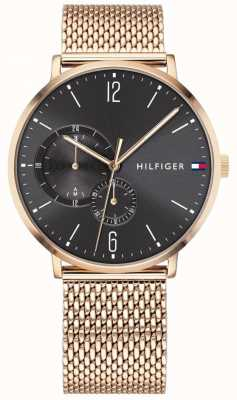 Tommy Hilfiger Mens gold d milanese black tarcza 1791506