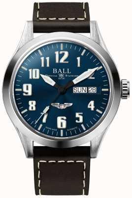 Ball Watch Company Engineer iii srebrny star brązowy skórzany pasek z niebieską tarczą NM2182C-L3J-BE